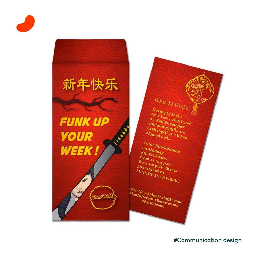 Invite with Envelope For Kaboom. Design by Orrigem Design Hub