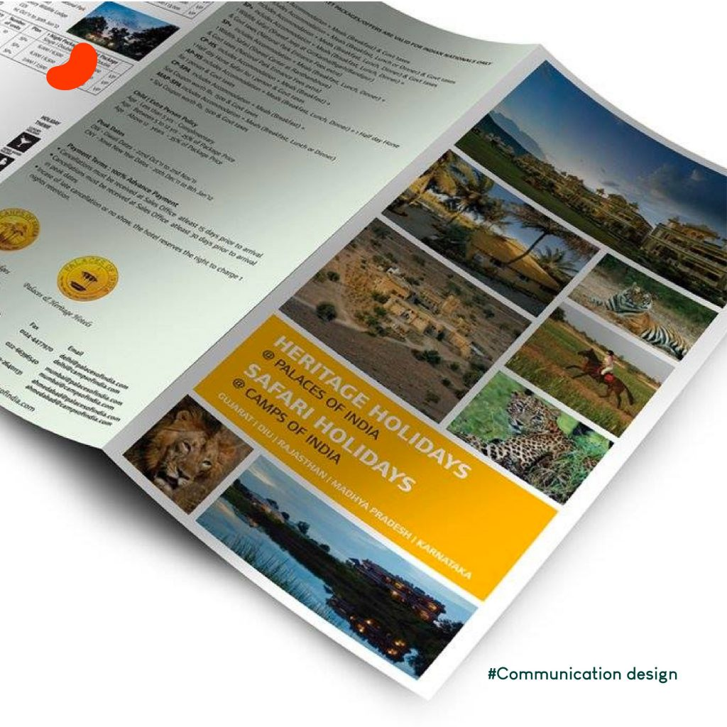 Three-fold brochure for Camps of India & Palaces of India Design by Orrigem Design Hub